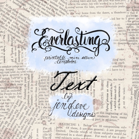 Everlasting Printable Mini album Template in Text and PLAIN