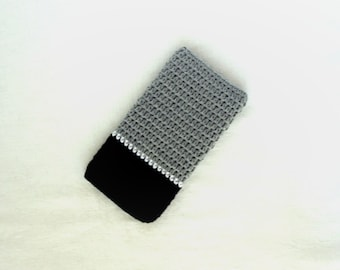 Black and gray crochet phone cover, Smart phone case ,Crochet phone bag cover