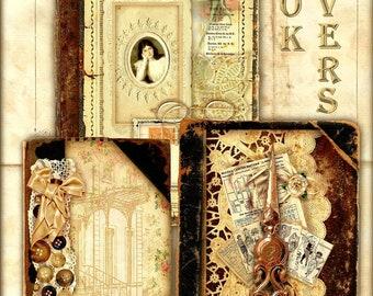 Set of 6 Vintage Ledger Book Cover Collages for Journals - Digital Printable - INSTANT DOWNLOAD