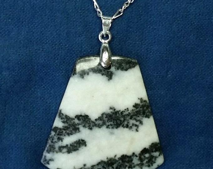 Black and White Striped Quartz Pendant on Delicate Silvery Figaro Chain