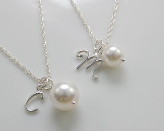 Mother Daughter initial necklace set with Swarovski Pearl