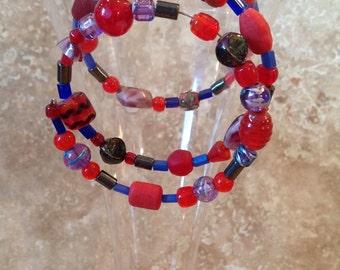 Red hat colours spiral bracelet