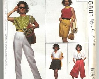 5801 McCalls Sewing Pattern Split Skirt & Pants UNCUT Size 10 12 14