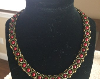 gold and red choker necklace with 2mm crystals and antique gold findings
