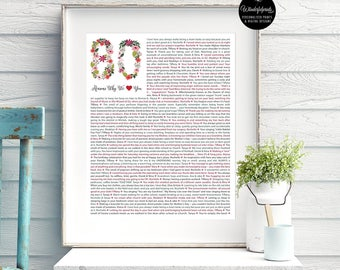 80th birthday gift for Mom / For Nana / For HER / Flower / 1937 / 80 Reasons We love you / DIGITAL Download / Unique Gift / Custom Word Art