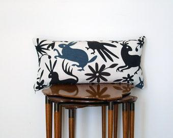 Graphic Animal Otomi Pattern Lumbar Pillow Cover, in Brown + Cream