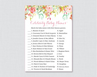 Floral Baby Shower Celebrity Baby Name Game - Celebrity Baby Name Match - Printable Download - Pink and Gold Flower Baby Shower Game- 0041