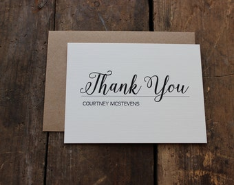 Elegant and Classic Personalized Thank You Note, Interview Thank You, From the Desk of Stationery