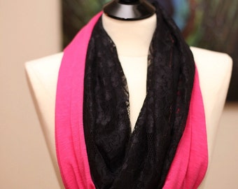 Infinity Scarf - Jersey Knit and Lace