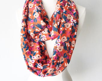 Red Rifle Paper Co Floral Rayon Infinity Scarf - Handmade - For Her, Spring Fashion, Mother's Day, Summer