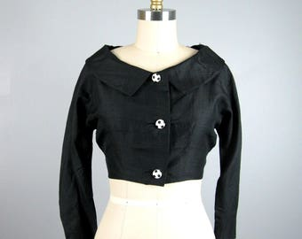 CLEARANCE // Vintage 1950s Bolero 50s Black Silk Evening Jacket with Polka Dot Lining and Buttons Size S