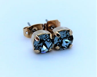 Rose Gold Stud Earrings made with Indian Sapphire Swarovski Crystal Elements and Surgical Steel Posts