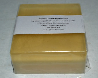Toasted Coconut Soap Bar, Glycerin Coconut soap, Exfoliating soap, melt and pour, handmade soap, gift for her, gift for him, moisturizing