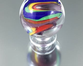 lampwork marble, rainbow marble, glass orb, coloured glass marble, soft glass, Italian glass marble, hand spun marble, collectable marble