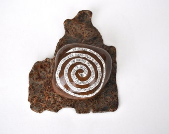 London Rocks - collage on Thames river stone - literary gift, paperweight