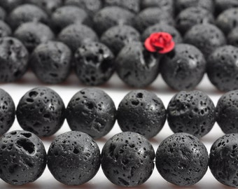 32 pcs of Matte Black Lava round beads in 12mm