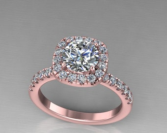 rose gold forever brilliant moissanite and diamonds  engagement ring,rose gold diamond halo ring, style 26RGDM