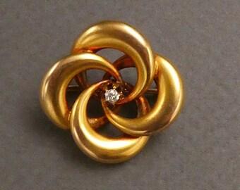 10K Diamond Lovers Knot brooch