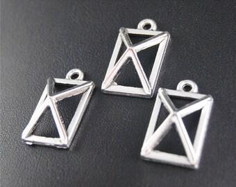 30pcs Antique Silver Geometry Charms Pendant A2085