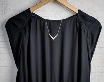 Geometric necklace, Chevron necklace, arrow necklace, triangle necklace, V necklace, everyday necklace, gift for her, unique necklace