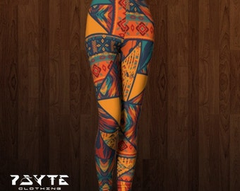Tribal Leggings, Womens leggings, dance leggings, Festival Leggings, Geometric, Active wear, Yoga leggings,Sacred geometry,