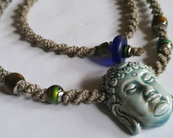 Zen Colour changing hand woven Ceramic Buddha necklace.