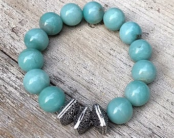 Aqua Amazonite Silver Chunky Minimalist Geometric Beaded Bracelet  Stretch Bracelet For her Under 100, Limited Edition Free Gift Wrap