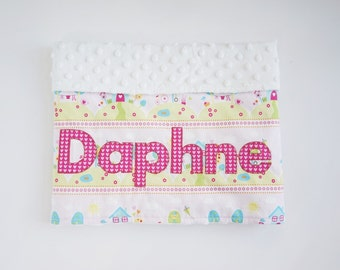 Monogrammed Baby Girl Minky Blanket ~ Personalized Blanket ~ Home and Birds ~ Lovey Blanket ~Swaddle Blanket ~Crib Blanket ~Baby Shower Gift