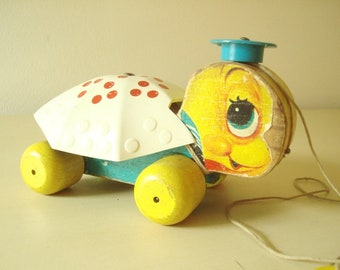 Fisher Price Tiny Tim turtle pull toy, vintage #496 made 1957 to 1962, toddler pull toy, mid-century anthropomorphic toy