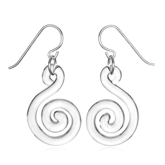Glass Small Flat Spiral Earrings