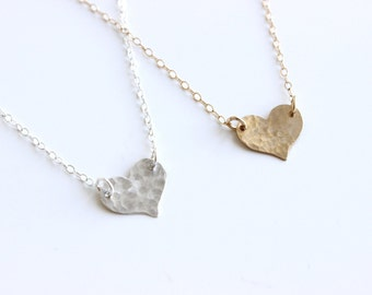 Hammered Heart Necklace / Heart Plate Necklace / Big heart necklace / Hammered Sterling Silver Heart / Heart Connector Necklace