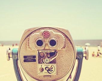 Beach Viewfinder Photography Print, Pastel Summer Decor, Teal, Santa Cruz Boardwalk, California Art Print - Miles and Miles