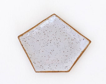 White Geometric Ceramic Dish / Jewelry Dish / Succulent Drainage Tray / Ceramic Saucer / Modern Pottery / The  Kure Dish / READY TO SHIP