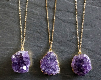 Amethyst Necklace / Amethyst Jewelry / Druzy Necklace / February Birthstone / Raw Crystal Necklace  / Gold Amethyst Druzy
