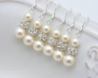 4 Pairs Ivory Pearl and Rhinestone Earrings, 4 Pairs Bridesmaid Earrings, Long Pearl Earrings, Ivory Pearl Sterling Silver Earrings 0150