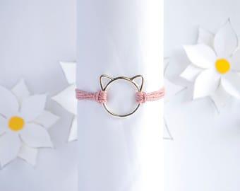 Cat Charm Bracelet | Custom Simple Hemp Bracelet | Cat Jewelry | Stackable Bracelet | Handmade Bracelet | Adjustable Bracelet | Cat Lovers