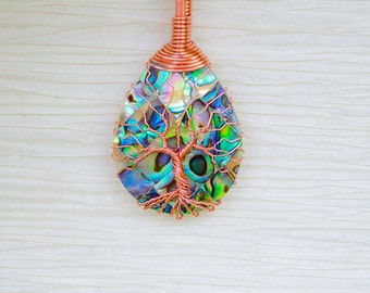 Tree of life, Graduation Gift for her, gift for women, abalone necklace, Tree of life pendant