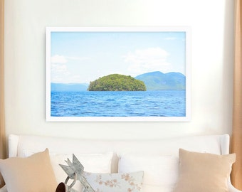 """Large Wall Art // Lake photography // Large Water Print // Lake Print // Lake George Photography, Blue, Green  """"Greetings From Nowhere 3"""""""
