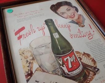 """Vintage 1945 7up Pop Soda Poster 7-Up - """"Fresh up, keep smiling!"""""""