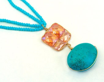 Golden Shadow Crystal, Turquoise Necklace