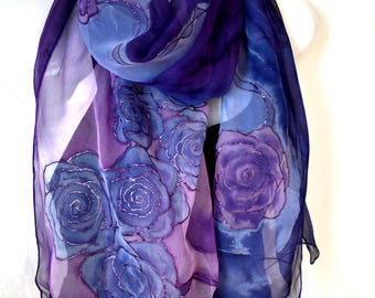 Hand Painted Silk Scarf, Purple Blue Silk Scarf, Roses Silk Scarf, Floral Silk Chiffon Scarf, Gift For Her