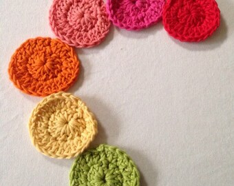 Facial scrubbies, rainbow scrubbies, crochet facial care, set of 6 scrubbies, cotton eye makeup removal pads, uk seller, ready to post