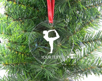Personalized Custom Yoga Clear Acrylic Christmas Tree Ornament with Ribbon