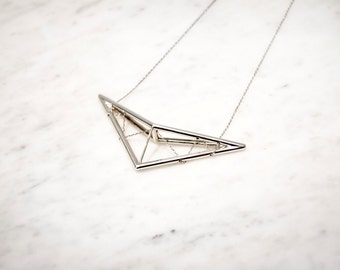 Geometric Necklace with Chain | Sterling Silver Statement Necklace | 3d Printed Jewelry | Scissor Truss Pendant Necklace