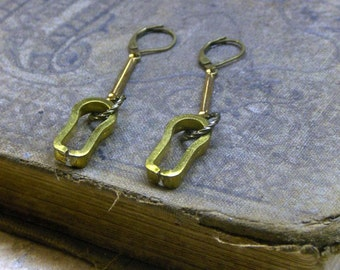 The Peepholes keyhole Earrings. Vintage Brass escutcheon Key hole and Art Deco bar dangle BOHO handmade earrings