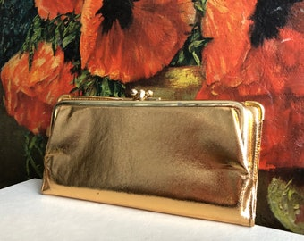 Gold Wallet Clutch Purse Vintage Distressed Handbag Lame Metallic