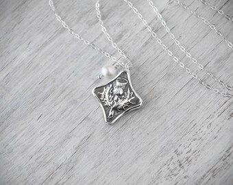 Scottish Thistle Necklace -  Sterling Silver Chain - .999 Thistle Charm -  Handcrafted Artisan Jewelry