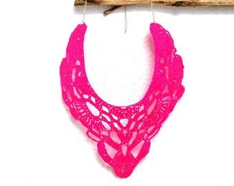 Maxi Crochet Necklace. Bright Neon Pink.