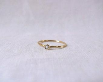 Rose cut white diamond ring - 14k or 18k