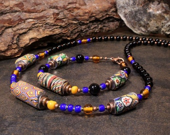 African Necklace, Bracelet, African Jewelry, African Trade Bead, Ethnic Jewelry, Tribal Jewelry, Colorful Set, Mens Beaded Necklace
